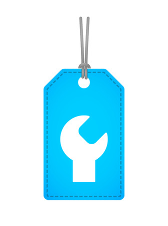 Illustration of an isolated label icon with a monkey wrench Vector