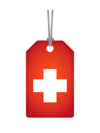 swiss flag: Illustration of an isolated label icon with a swiss flag Illustration
