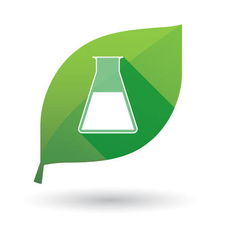 Illustration of an isolated leaf icon with a chemical test tube Vector
