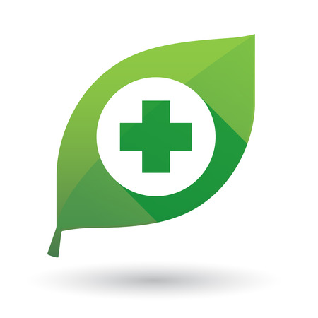 Illustration of an isolated leaf icon with a pharmacy sign Vector