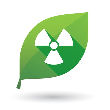 Illustration of an isolated green leaf icon with a radioactivity sign Illustration
