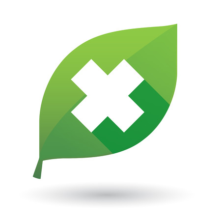 harmful to the environment: Illustration of an isolated green leaf icon with a irritating substance sign