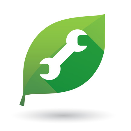primate biology: Illustration of an isolated green leaf icon with a monkey wrench