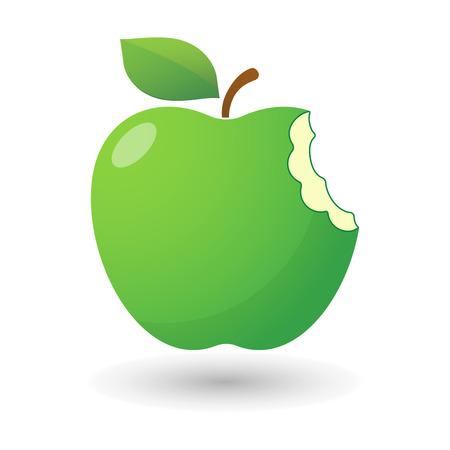 bitten: ilustraci�n de un icono de la manzana mordida aisladas