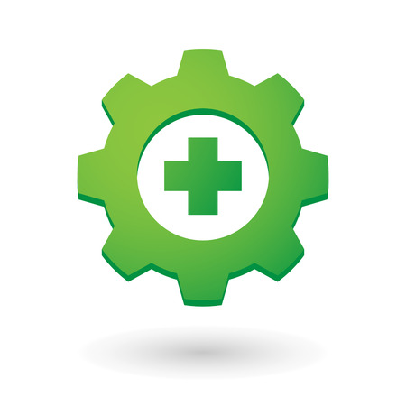 Illustration of an isolated gear icon with a pharmacy icon Vector