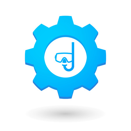 Illustration of an isolated gear icon with a diving goggles Vector