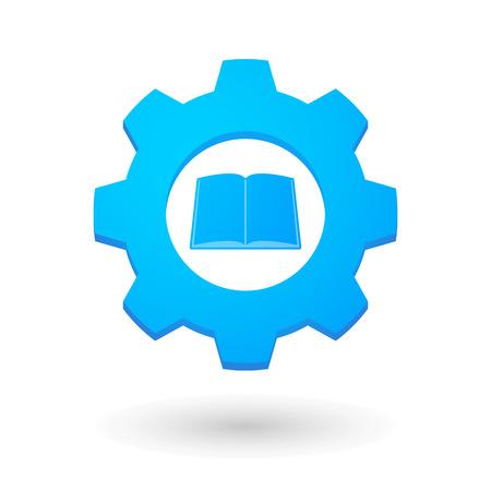 Illustration d'une icône d'engrenage isolé avec un livre Banque d'images - 32805987
