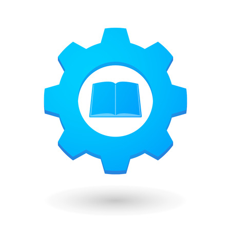 Illustration of an isolated gear icon with a book