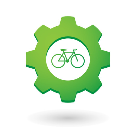 Illustration of an isolated gear icon with a bicycle Vector
