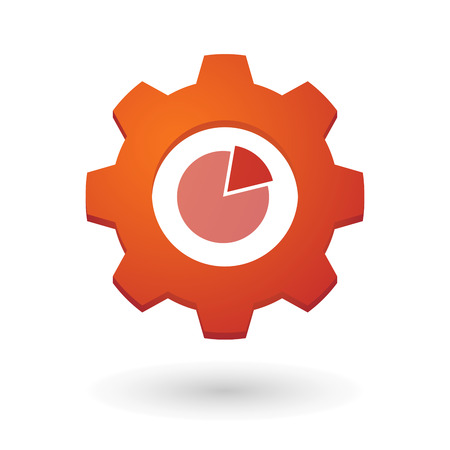 Illustration of an isolated gear icon with a pie chart Vector