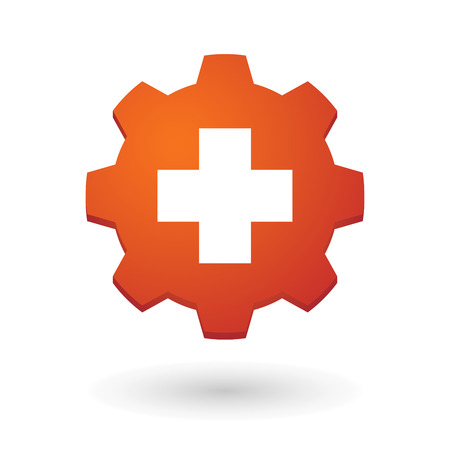 swiss flag: Illustration of an isolated gear icon with the swiss flag Illustration