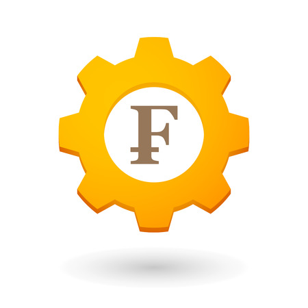 Illustration of an isolated gear icon with a currency sign Vector