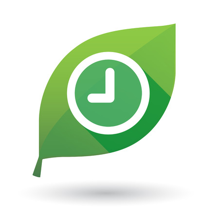 Illustration of an isolated green leaf icon with a clock Vector