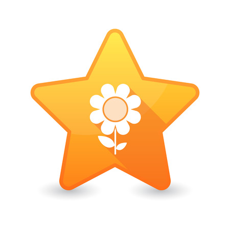Illustration of an isolated star icon with a flower Vector