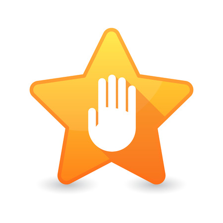 Illustration of an isolated star icon with a hand Vector