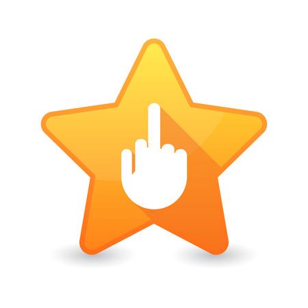antisocial: Illustration of an isolated star icon with a hand