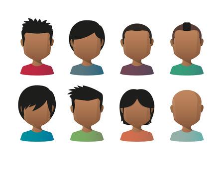 Illustration of indian men faceless avatar set
