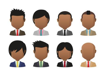 Illustration of indian men wearing suit faceless avatar set