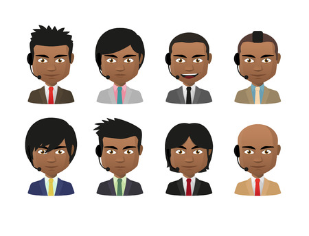 Illustration of indian men wearing suit and a headset avatar set Vector