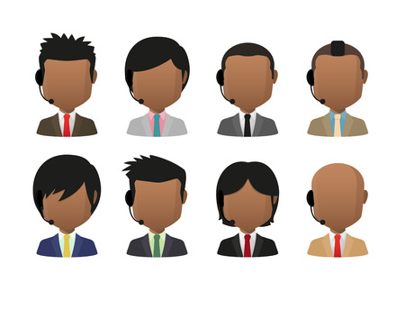 Illustration of indian men wearing suit and a headset faceless avatar set Vector