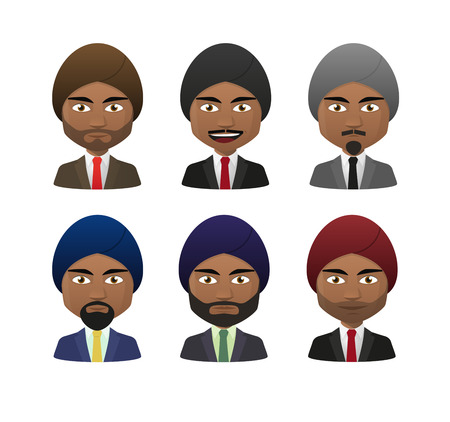 Illustration of indian men wearing suit and turban avatar set Vector