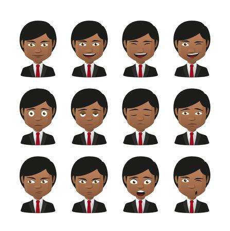 Illustration of indian men wearing suit avatar expression set