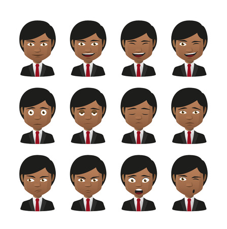 facial expression: Illustration of indian men wearing suit avatar expression set