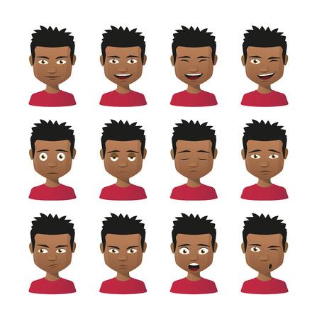 Illustration of indian men avatar expression set