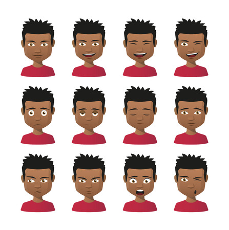 male face profile: Illustration of indian men avatar expression set