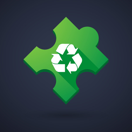 Illustration of a puzzle piece icon with a recycle sign Vector
