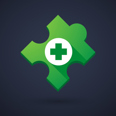 Illustration of a puzzle piece icon with a pharmacy sign Vector