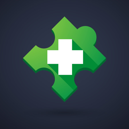 cross match: Illustration of a puzzle piece icon with a pharmacy sign