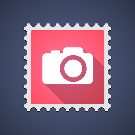 Illustration of a mail stamp icon with a photo camera Иллюстрация