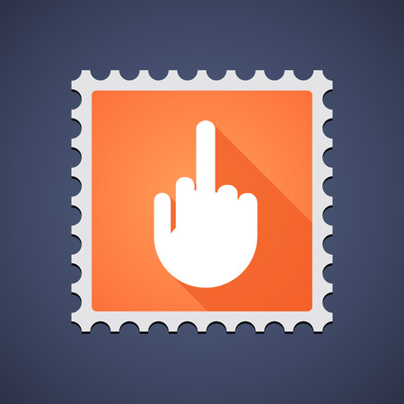antisocial: Illustration of a mail stamp icon with a hand Illustration