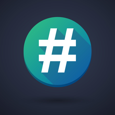 hash: Illustration of a long shadow icon with a hash tag