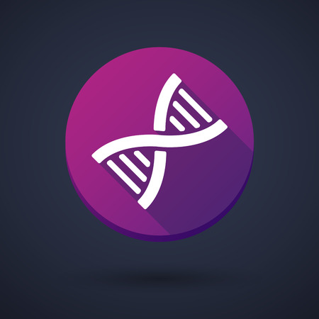 Illustration of a long shadow icon with a DNA sign Vector