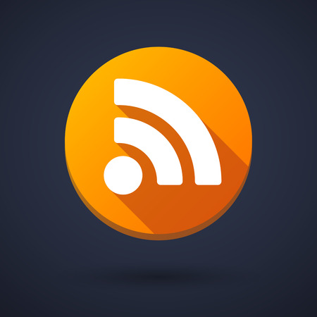 rss feed icon: Illustration of a long shadow icon with a rss sign