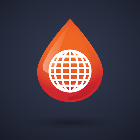 Illustration of a blood drop icon with a world globe Vector