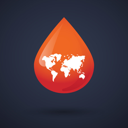 Illustration of a blood drop icon with a world map Vector