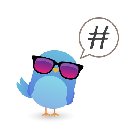 keywords bubble: Illustration of a blue bird with sunglasses