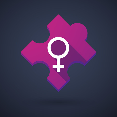 challenging sex: Illustration of a puzzle piece icon with a female sign Illustration