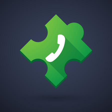 Illustration of a puzzle piece icon with a phone Vector