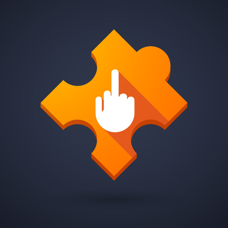 Illustration of a puzzle piece icon with a hand Vector