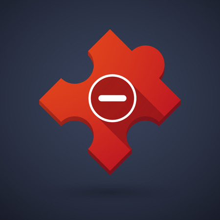 subtraction: Illustration of a puzzle piece icon with a subtraction sign Illustration
