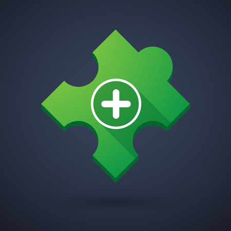 cross match: Illustration of a puzzle piece icon with a sum sign Illustration