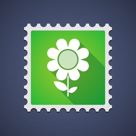 Illustration of a mail stamp with a flower Vector