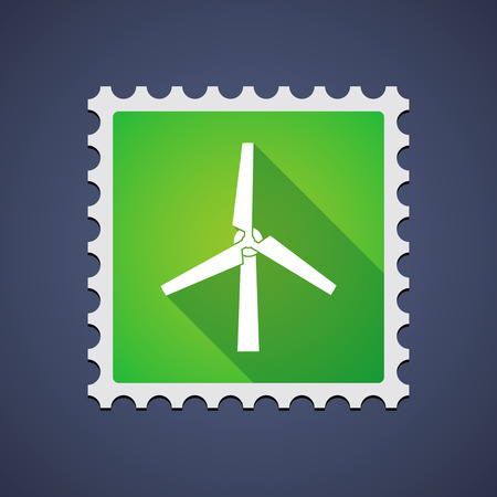 postage stamp: Illustration of a mail stamp with a wind generator