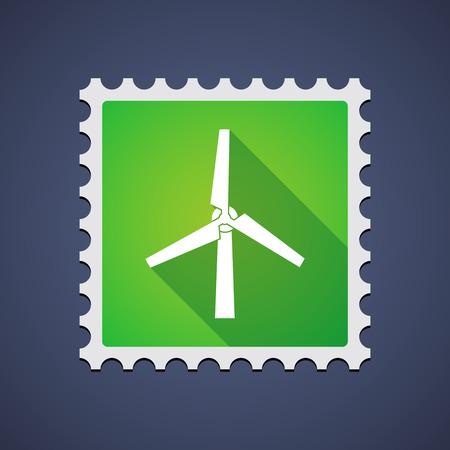 sello: Ilustraci�n de un sello de correo con un generador de viento Vectores