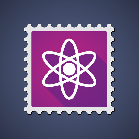 Illustration of a mail stamp with an atom