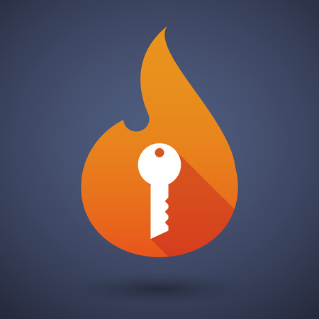 open flame: Illustration of a flame icon with a key